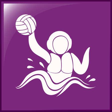 waterpolo: icono de waterpolo en la ilustraci�n de fondo de color p�rpura