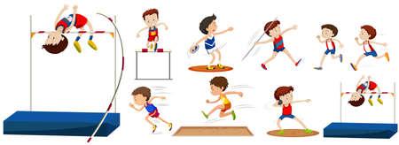 salto largo: Diferentes tipos de deportes en el campo de la ilustración