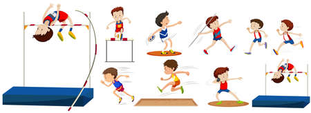 hurdles: Different type of sports in the field illustration