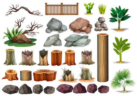 palm tree: Gardening set of rocks and branches illustration