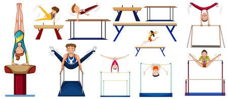 Männer und Frauen verschiedene Sportarten Illustration tun
