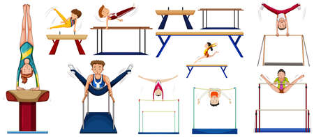 gymnastics: Men and women doing different sports illustration