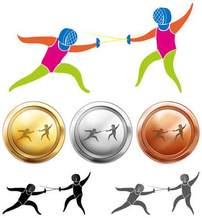 fencing sword: Fencing icon and sport medals illustration Illustration