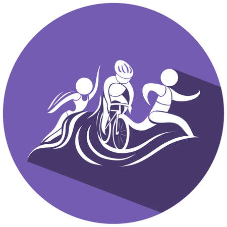 sports activity: Triathlon icon on round illustration