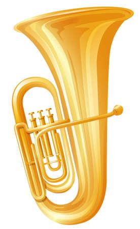 tuba: Golden tuba on white background illustration