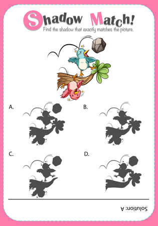 art activity: Matching game template with birds illustration