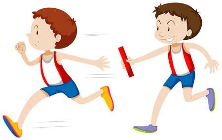 Relais laufen Rennen auf weißem Hintergrund Illustration