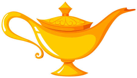 Golden lamp with the lid on illustration Illustration