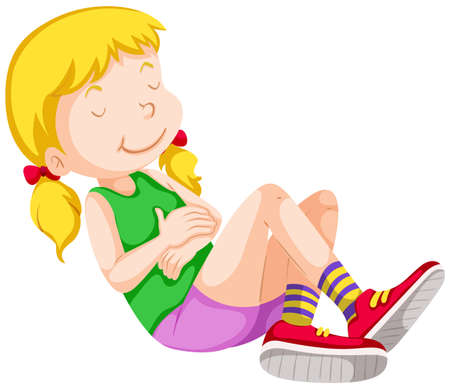 girl shirt: Girl in green shirt resting illustration