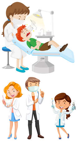 doctors and patient: Male and female dentists with tools illustration Illustration
