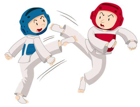two men: Two men doing taekwondo illustration