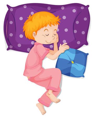 Boy in pink pajamas sleeping on purple pillow illustration