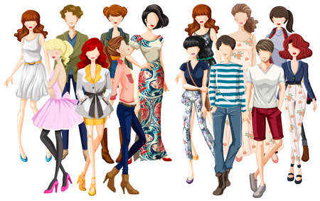 Men and women in fashionable clothes illustration