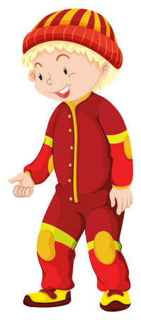adolescent boy: Little boy in red jumpsuit illustration