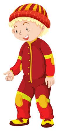 jumpsuit: Little boy in red jumpsuit illustration