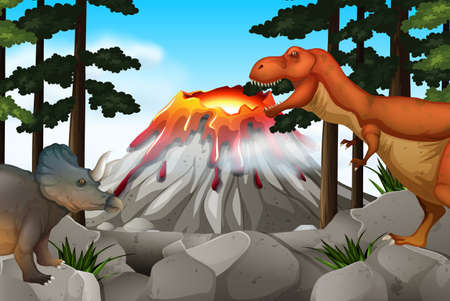 sauropod: Scene with dinosaurs and volcano illustration