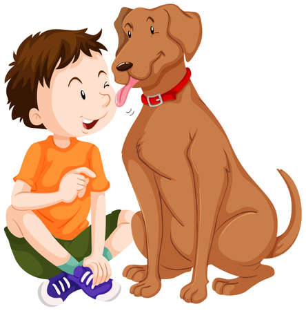licking in isolated: Dog licking boy on face illustration