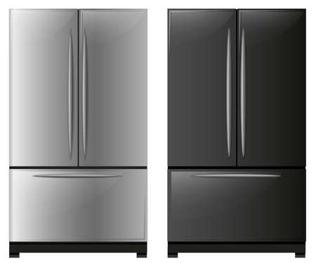 storage device: Refrigerator with black and white doors illustration