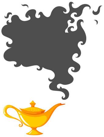 lampara magica: Lámpara de oro con la ilustración de humo oscuro