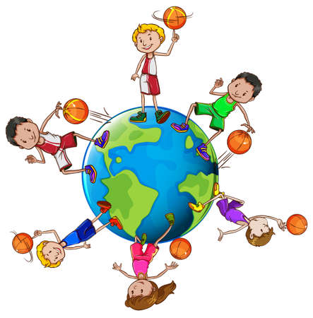 Basketball players with ball around the world illustration Illustration