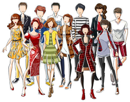 fashion design: People wearing fashionable clothes illustration Illustration