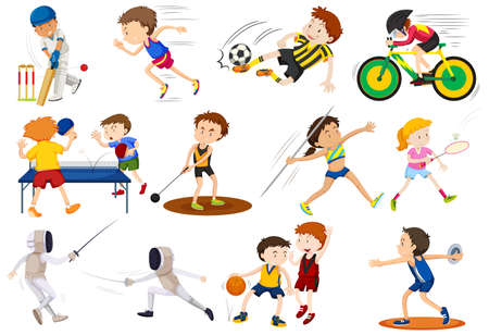 People doing different kinds of sports illustration Фото со стока - 60452520