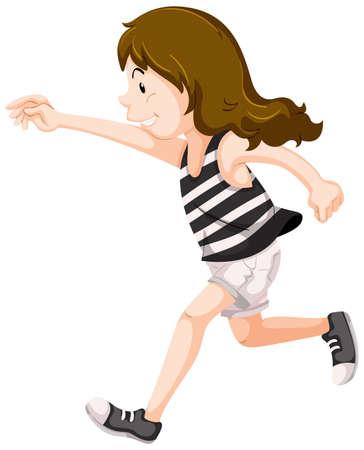 Girl in striped shirt running illustration Illustration