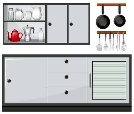 Equipo y muebles en la cocina ilustración