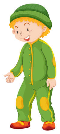 jumpsuit: Boy in green jumpsuit and hat illustration