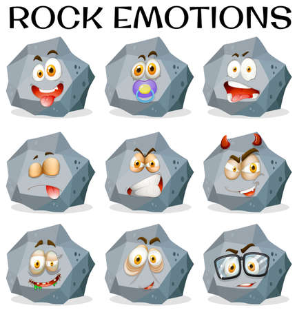 multiple objects: Rock with different facial expressions illustration