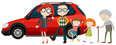 family illustration: Family members standing in front of car illustration