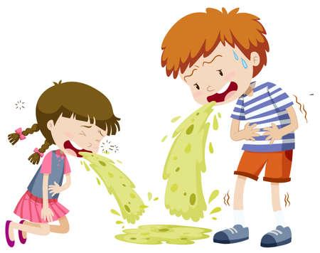 spew: Boy and girl vomitting illustration
