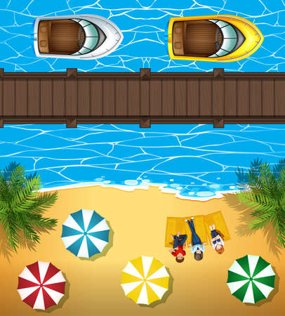 sea view: People on the beach and boats in the sea illustration