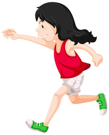 girl shirt: Little girl in red shirt running illustration Illustration