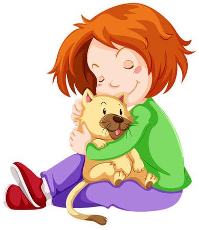 pet cat: Happy girl hugging pet cat illustration