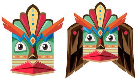 wooden mask: Handcraft mask made of wood illustration Illustration