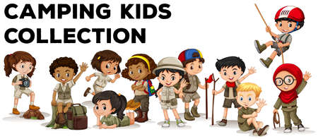 children s art: Children in camping outfit  illustration