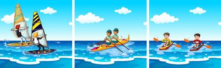 windsurf: Las personas que hacen deportes acuáticos en la ilustración del mar