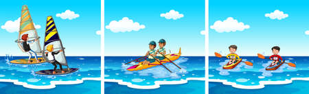 People doing water sports at sea illustration