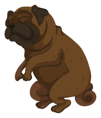 pug dog: Pug dog closing its eyes illustration