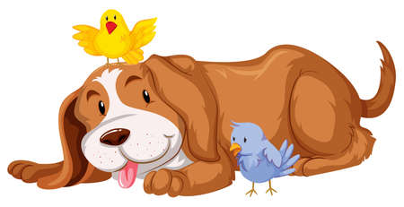 two birds: Pet dog with two birds illustration