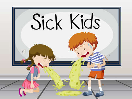 infectious disease: Boy and girl getting sick illustration Illustration
