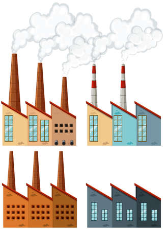 developed: Factory buildings with chimneys illustration Illustration