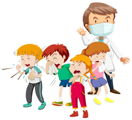 Kids being sick and doctor illustration