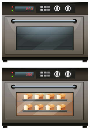 toasted bread: Electric oven with toasted bread illustration