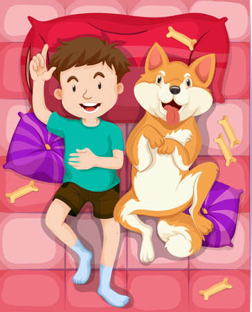 dog sleeping: Boy and pet dog sleeping on bed illustration