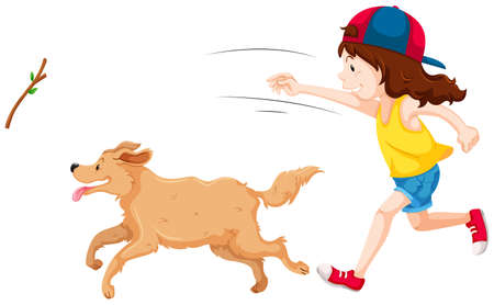 girl in nature: Girl throwing stick and dog catching it illustration Illustration