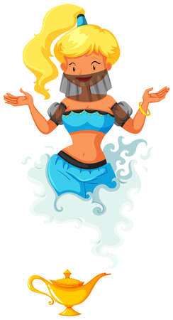 fantacy: Genie coming out of the lamp illustration