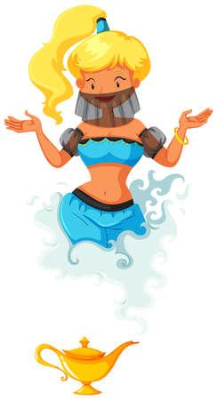 lampada: Genie uscendo dalla illustrazione lampada