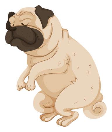 Pug cane in piedi su due gambe illustrazione